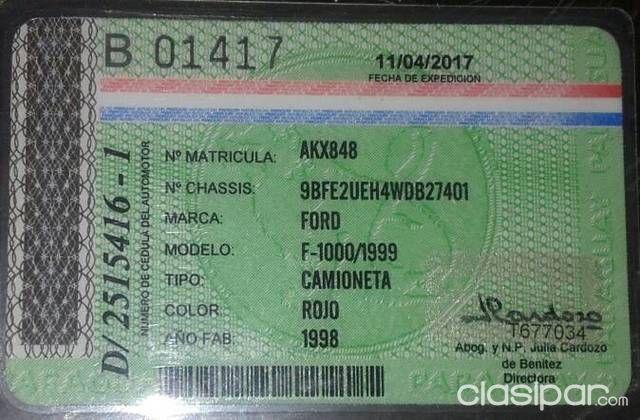 Oferta Ford F 1000 De Tape Ruvicha 849053 Clasipar Com En Paraguay